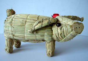 straw animals for holiday and christmas