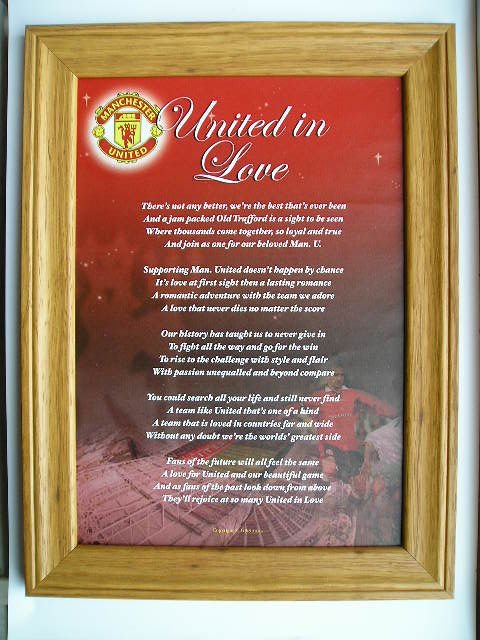 The Manchester United Framed Poem - United In Love